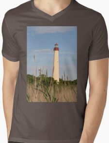 Cape May Lighthouse through the Reeds Mens V-Neck T-Shirt