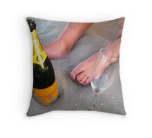 Champers at the Beach House Throw Pillow