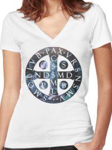 Saint Benedict Medal Women's Fitted V-Neck T-Shirt