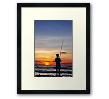 Fishing Sunset Framed Print