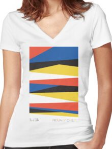 Block Color Signature Women's Fitted V-Neck T-Shirt