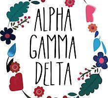 Alpha Gamma Delta Flower Wreath by Margaret Young