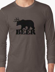 Funny Beer Bear with Antlers Long Sleeve T-Shirt