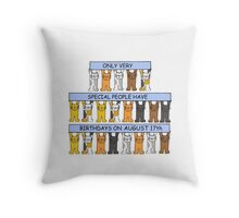 Cats celebrating a birthday on August 17th. Throw Pillow