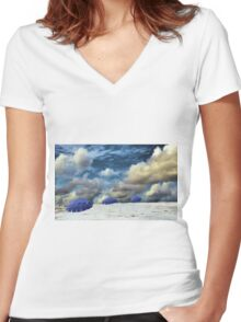 Beach Umbrellas Women's Fitted V-Neck T-Shirt