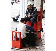 Shoe Shine in Panama Hat, Cuenca, Ecuador Photographic Print