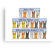 Cats celebrating a birthday on August 28th Metal Print