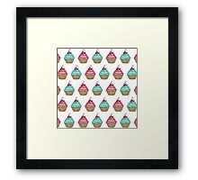 Cute Pink & Blue Cupcake with Cherry on Top Framed Print