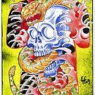 Skull 'n' snake print by Psychoskin