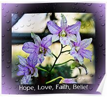 Hope Love Faith and Belief Poster