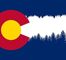 Colorado Flag Treeline Silhouette by freeformations