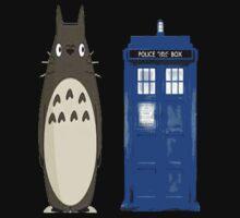 Totoro meets the tardis One Piece - Short Sleeve