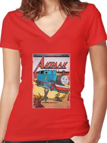 Action Comics Women's Fitted V-Neck T-Shirt