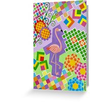 FLAMINGO IN COLORS AND SHAPES WITH SQUARS Greeting Card