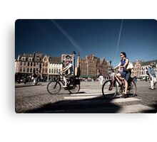 Cycling in Brugge Canvas Print
