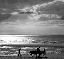Donkey ride on the sand, black and white by Paul Jarrett