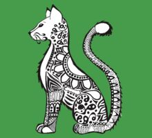Patterned Cat with Grey Background Kids Clothes
