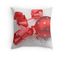 Red Christmas ball on snow Throw Pillow