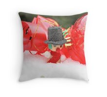 Miniature snowman  with transparent red Christmas ball in snow Throw Pillow