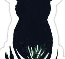 Deer Head Silhouette on Green Sticker