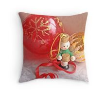 Little drummer boy with red glass ball Throw Pillow