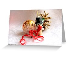 Snowman, gold ball and pine cone Greeting Card