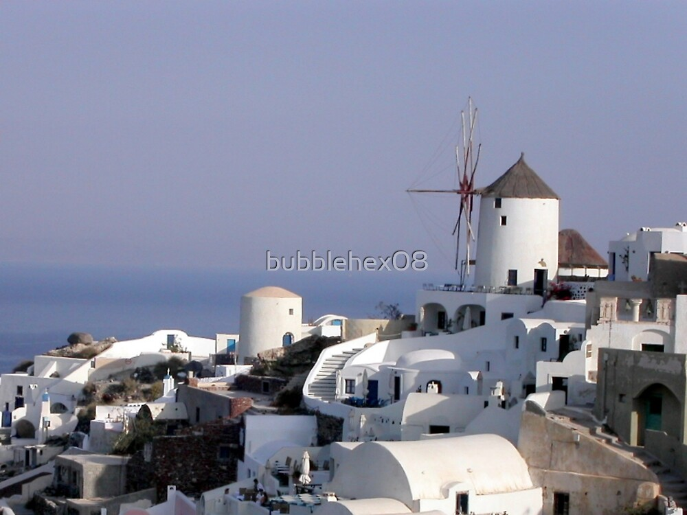 The windmill from Oia, Santorini by bubblehex08