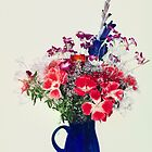 flowers in blue vase by pdsfotoart