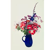 flowers in blue vase Photographic Print