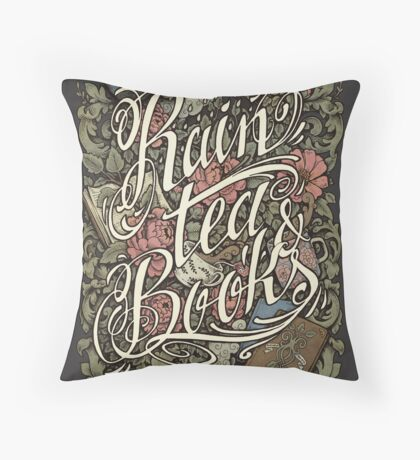Rain, Tea & Books - Color version Throw Pillow
