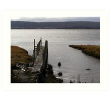 delapidated jetty,resting place for water birds ,  Art Print