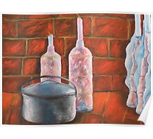 Candles and Pot in Red Poster
