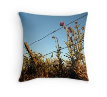 Thistles along a fence Throw Pillow