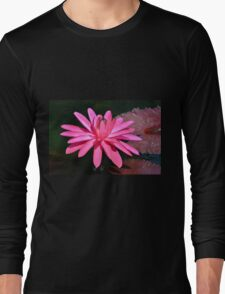 Large Pink Water Lily Long Sleeve T-Shirt