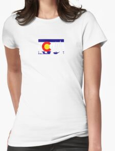 Colorado Tree Silhouette Womens Fitted T-Shirt