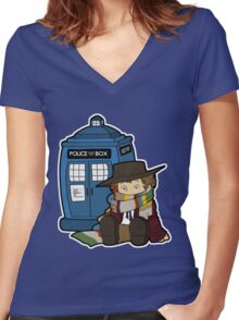 Doctor Number Four Women's Fitted V-Neck T-Shirt