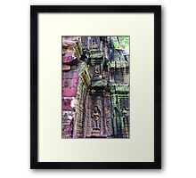 Stone, carvings and moss Framed Print