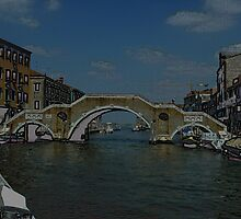 Triarch Bridge in Venice Sketch Posterized by Keith Richardson