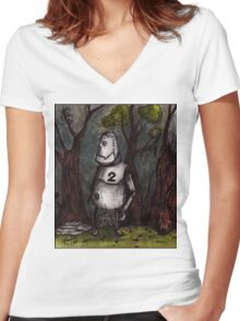 A Robot, Lost in the Wood Women's Fitted V-Neck T-Shirt