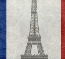 Vintage national flag of France with Eiffel Tower insert Sticker