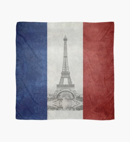 Vintage national flag of France with Eiffel Tower insert Scarf