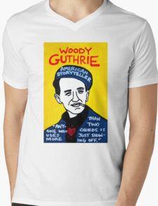 Woody Guthrie Folk Art Mens V-Neck T-Shirt