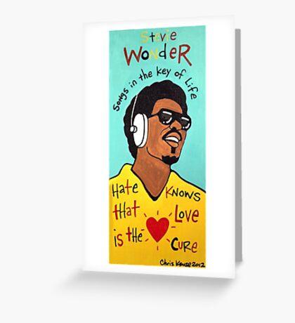 Stevie Wonder Pop Folk  Art Greeting Card