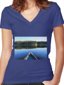 Canoeing on Lonely Lake Women's Fitted V-Neck T-Shirt