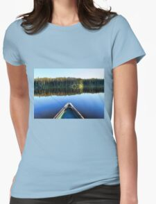 Canoeing on Lonely Lake Womens Fitted T-Shirt