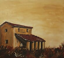 Tuscan farmhouse - yellow sky by zurika