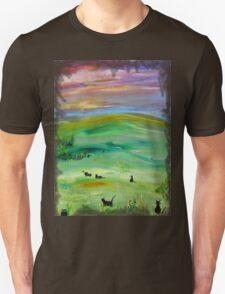 Black cat landscape T-Shirt