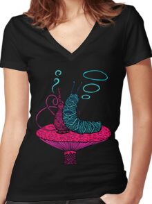 Hookah Smoking Caterpillar V.6.0 Women's Fitted V-Neck T-Shirt