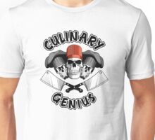 Culinary Genius. Skulls and Meat Cleavers Unisex T-Shirt