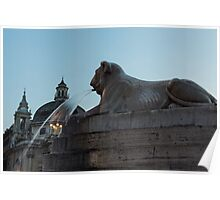 Rome's Fabulous Fountains - Piazza del Popolo Lion Poster